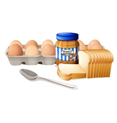 A bread with peanut butter and eggs vector