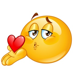 blowing kiss male emoticon vector image