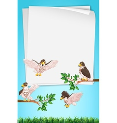 Paper template with eagles in background vector
