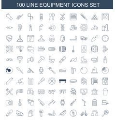 100 equipment icons vector