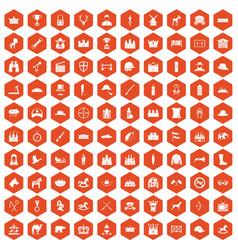 100 horsemanship icons hexagon orange vector