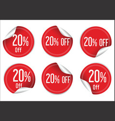 20 percent off red paper sale stickers vector