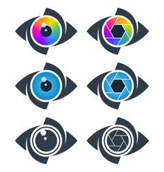 abstract eye icons vector image