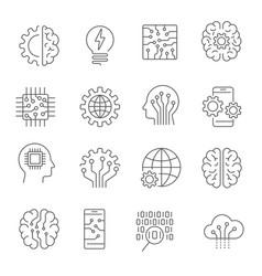 Artificial intelligence icon set editable stroke vector