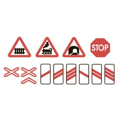 Attention road signs warning railway vector