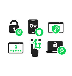 Authentication icons set 01 vector