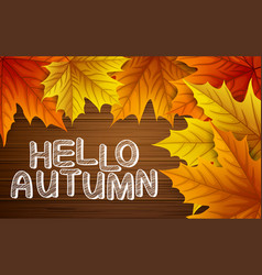 autumn leaves with lettering on wooden background vector image