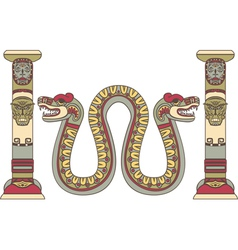 Aztec god as a snake between columns vector