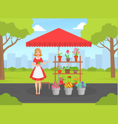 Beautiful young woman florist in apron selling vector