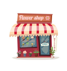 bent flower shop building green natural vector image