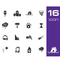 black disaster icons set on white background vector image