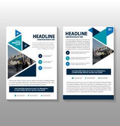 Blue Leaflet Brochure Flyer templates set vector