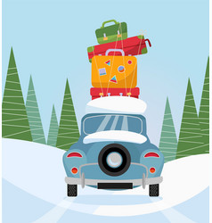 car back view with stack baggage on background vector image