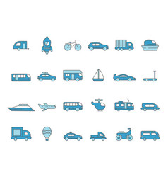 cars line icons transportation colored icons vector image