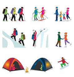 Cartoon character set of ice climber vector