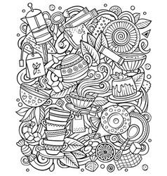 cartoon doodles tea cafe vector image