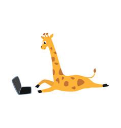 cartoon giraffe lying behind laptop vector image