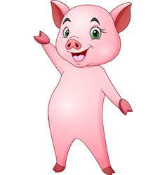 cartoon happy pig waving vector image