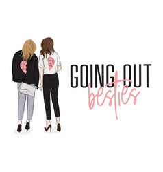 characters two girls in fashion clothes on vector image