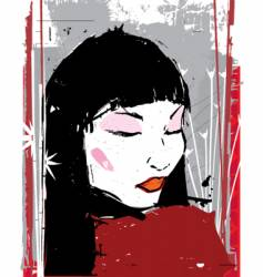 china girl ink illustration vector image