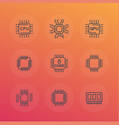 chipset cpu line icons set vector image