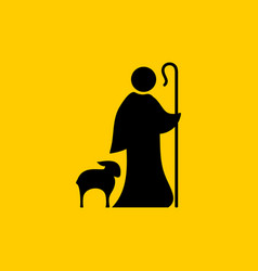 christian symbols shepherd and faithful sheep vector image