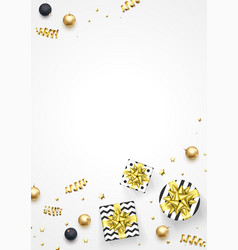 christmas greeting card golden decoration gifts vector image