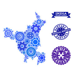 Collage map of haryana state with cogs and rubber vector