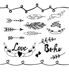 Collection of boho doodle design elements vector image
