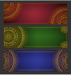 Colorful ethnic banners with lace ornament vector