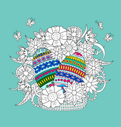 colorful ornamental eggs and doodle flowers in vector image