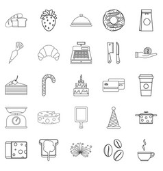 Cookies icons set outline style vector