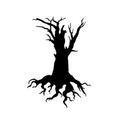 Creepy dead tree silhouette vector