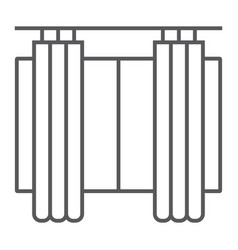 Curtains thin line icon furniture and home vector