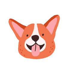 cute corgi face with tongue out funny dogs head vector image