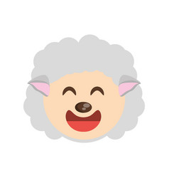 Cute face sheep animal cheerful vector