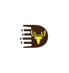 d alphabet deer head for hunt logo vector image