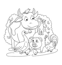 farm animals coloring book for children vector image