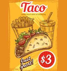 Fast food tacos fries coffee sketch menu vector