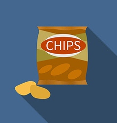Flat design chips icon with long shadowFlat design vector image