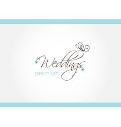 Floral wedding decoration logo design vector image