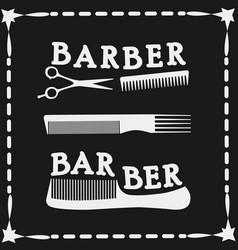 Frame hairdressing scissors and comb icon vector