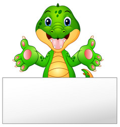funny crocodile cartoon with blank sign vector image