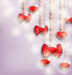 Glowing background with hanging hearts for vector image