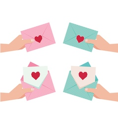 Hand giving an envelope with Valentine card vector image