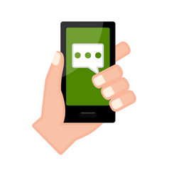 Hand holding a smartphone with a chat app vector