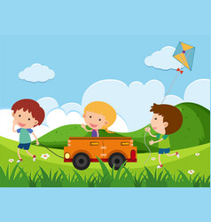 Happy children playing toy car in the park vector