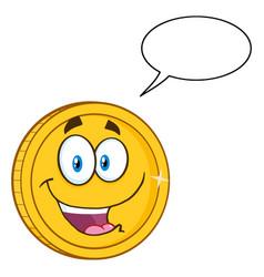 happy golden coin cartoon character vector image