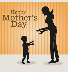 Happy mothers day-mom baby walking vector