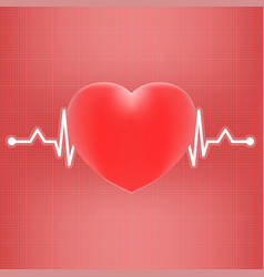 Heart and heart beat on ekg isolated on a vector